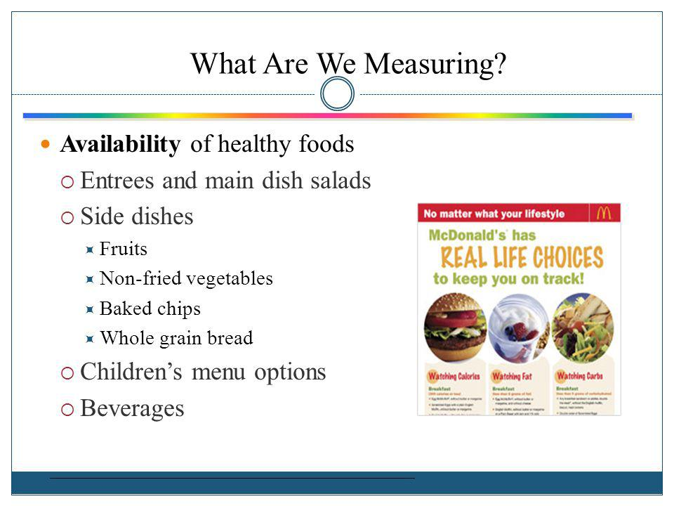 What Are We Measuring Availability of healthy foods