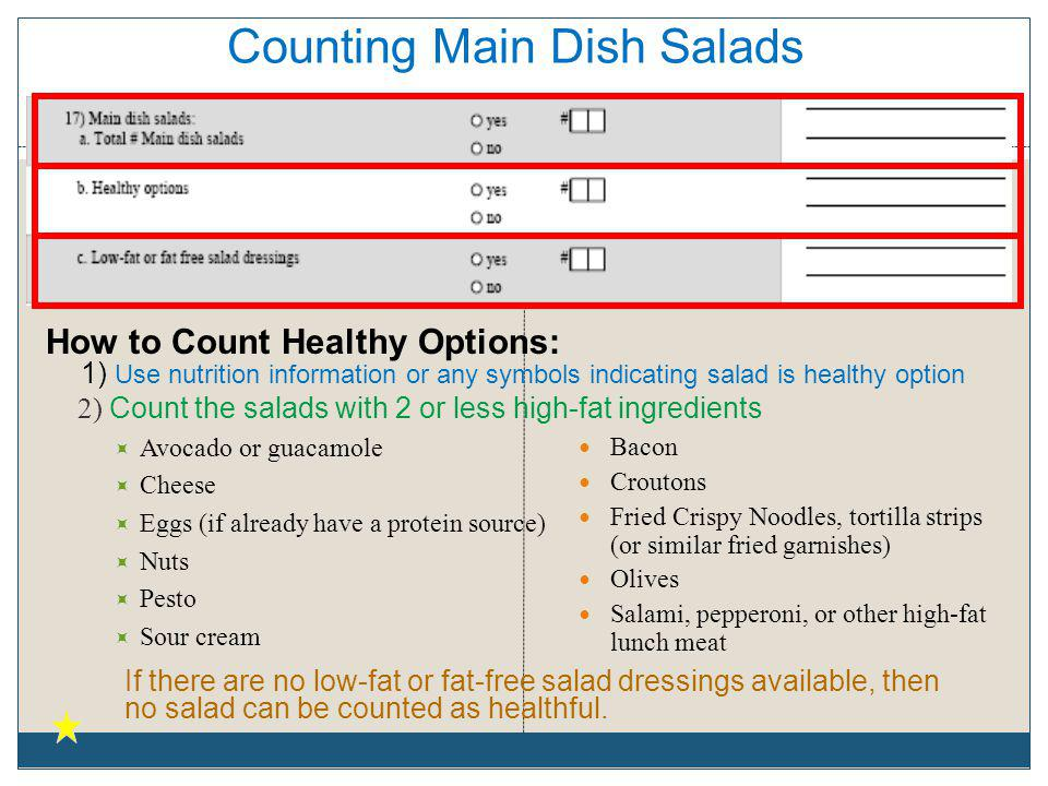 Counting Main Dish Salads