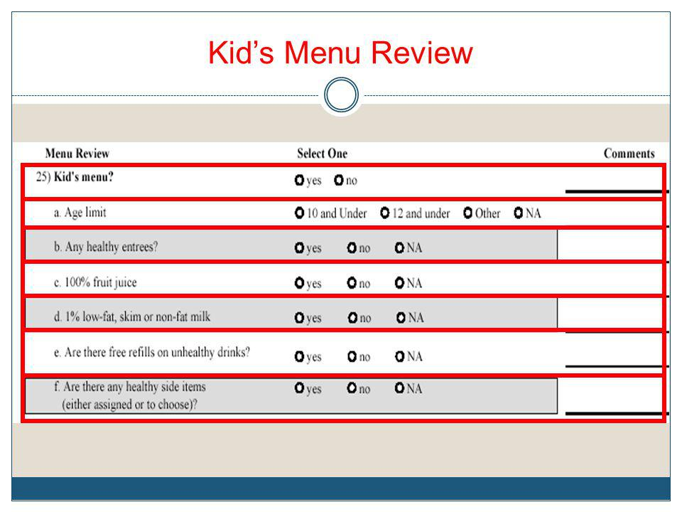 Kid's Menu Review