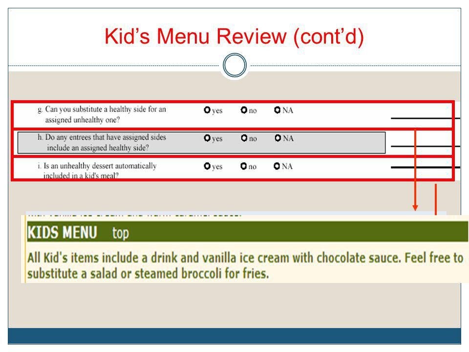 Kid's Menu Review (cont'd)
