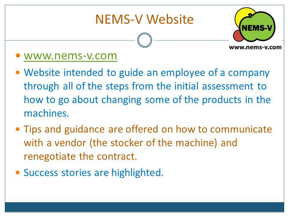 NEMS-V Website www.nems-v.com