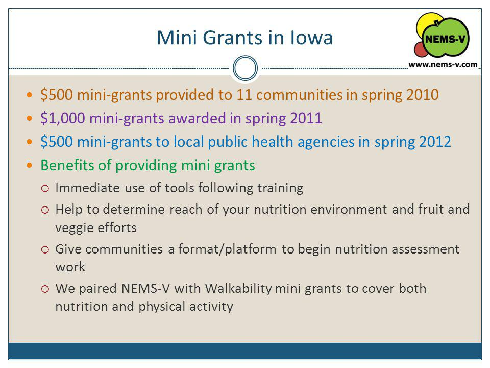 Mini Grants in Iowa $500 mini-grants provided to 11 communities in spring 2010. $1,000 mini-grants awarded in spring 2011.