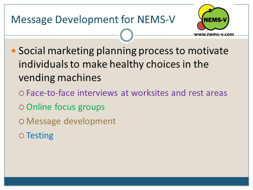 Message Development for NEMS-V