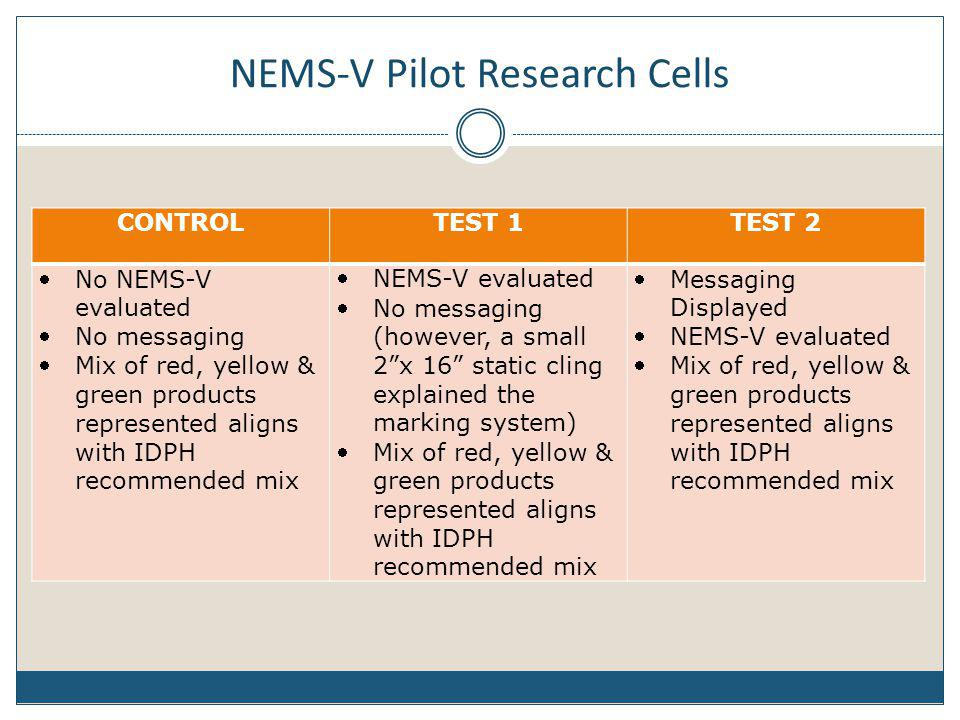 NEMS-V Pilot Research Cells