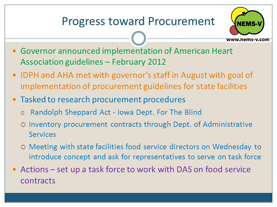 Progress toward Procurement