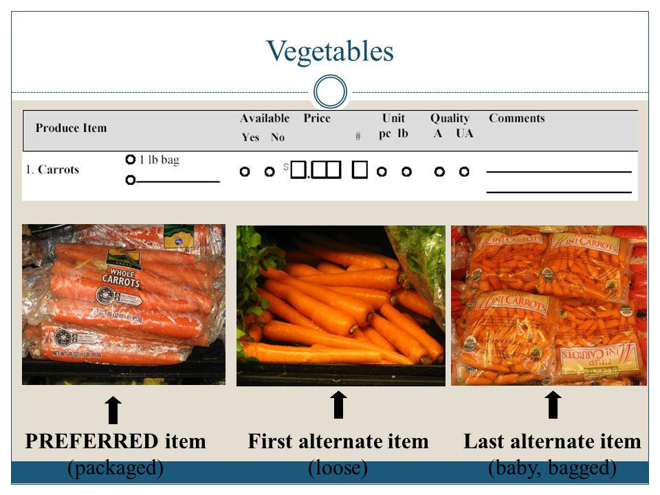 Vegetables PREFERRED item (packaged) First alternate item (loose)