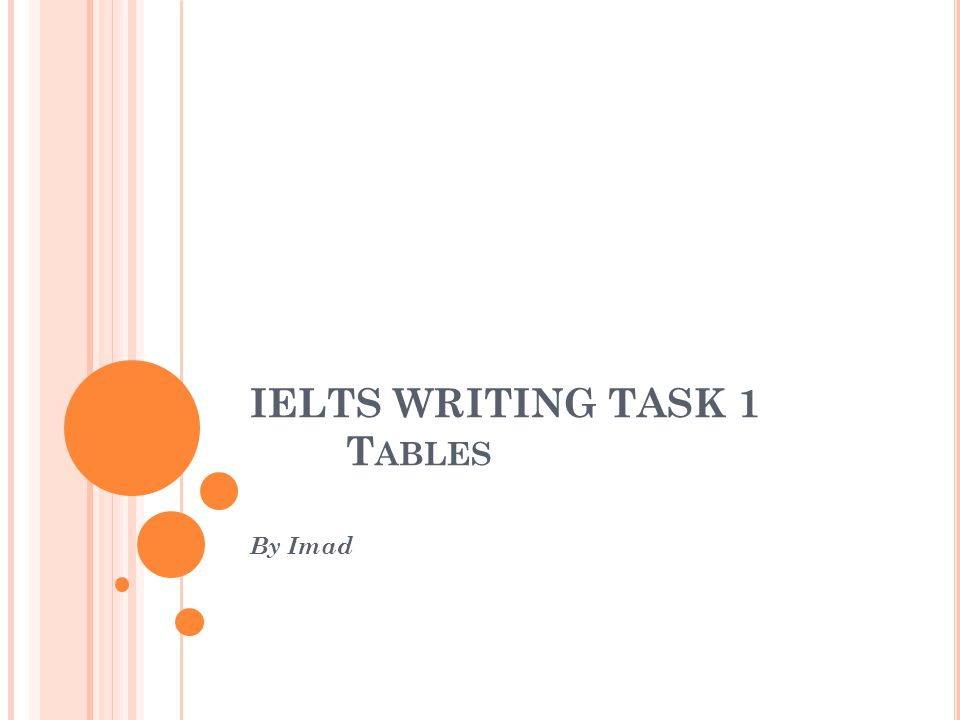IELTS WRITING TASK 1 Tables