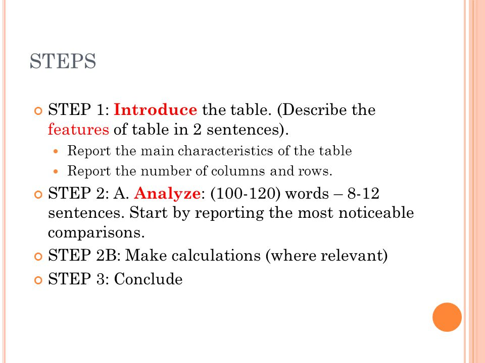STEPS STEP 1: Introduce the table. (Describe the features of table in 2 sentences). Report the main characteristics of the table.