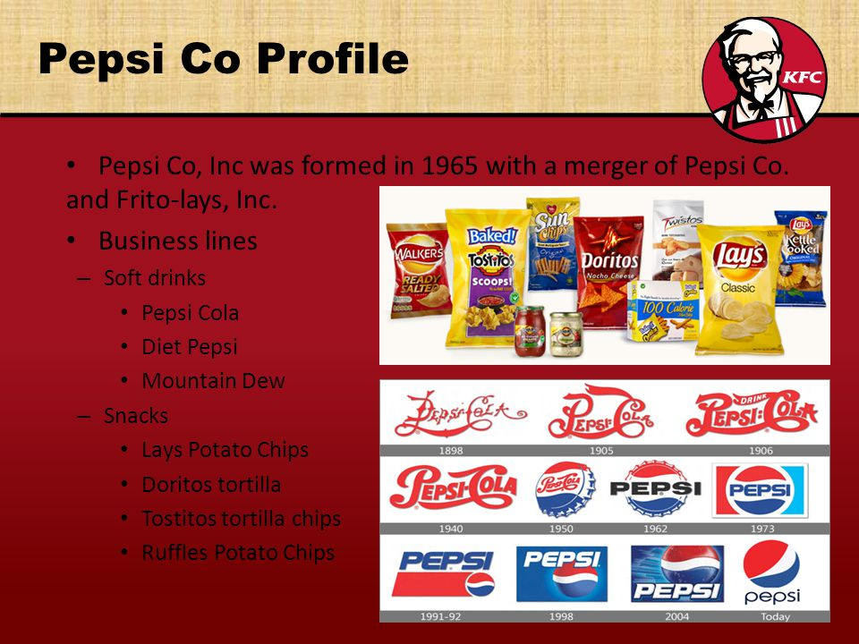 Pepsi Co Profile Pepsi Co, Inc was formed in 1965 with a merger of Pepsi Co. and Frito-lays, Inc. Business lines.