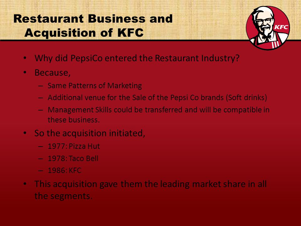 Restaurant Business and Acquisition of KFC