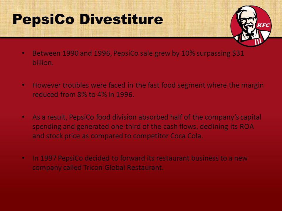 PepsiCo Divestiture Between 1990 and 1996, PepsiCo sale grew by 10% surpassing $31 billion.