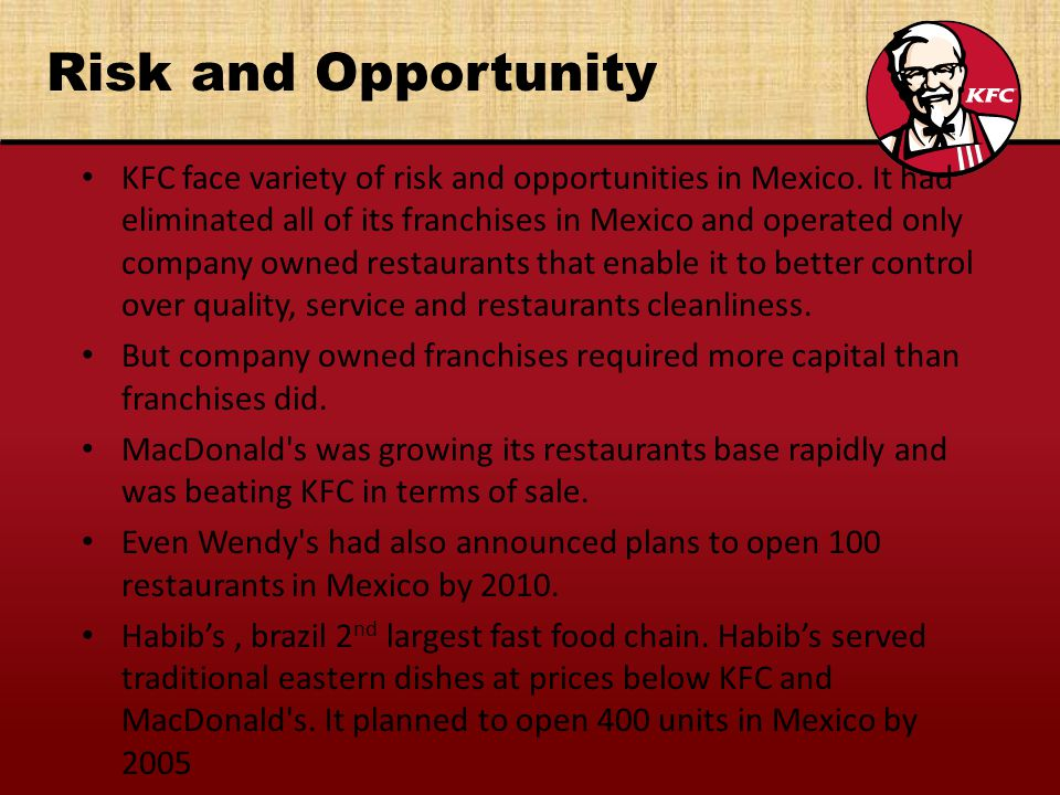 kfc problem and strategy Marketing strategy of kfc corporation :  one of them is financial problem and the other one is that kfc concentrates on only one single market for its strength .