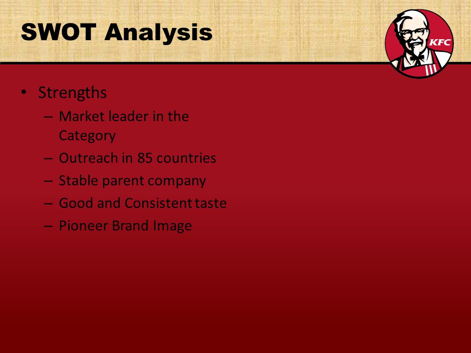 SWOT Analysis Strengths Market leader in the Category