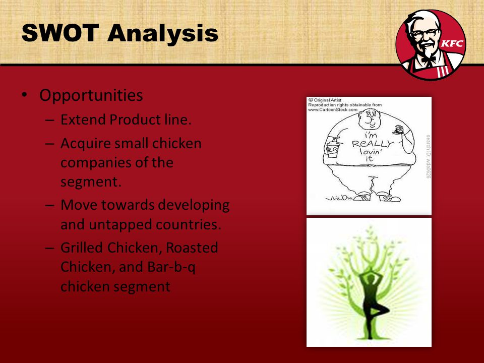 kfc uk swot This concise swot analysis of kfc aims look into the strengths and the weaknesses of kfc it also aims to look into the opportunities the company should explore and the threats it should keep an eye on.