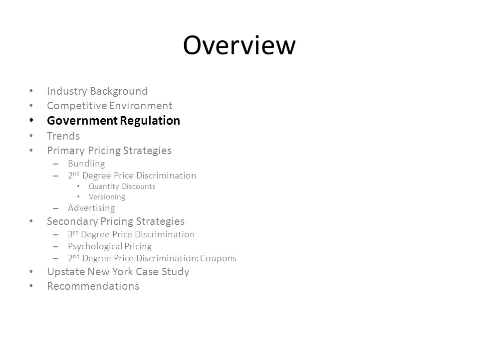 Overview Government Regulation Industry Background