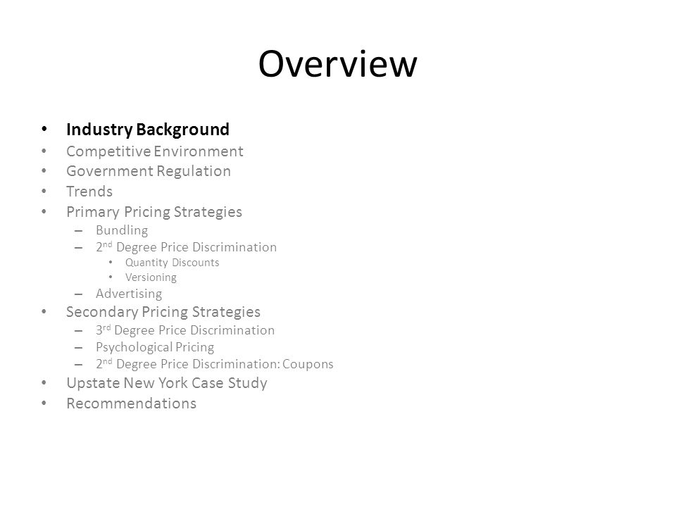 Overview Industry Background Competitive Environment