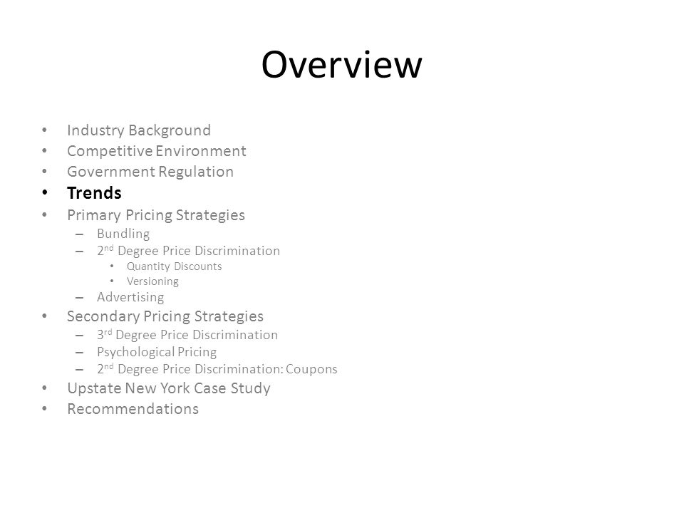 Overview Trends Industry Background Competitive Environment
