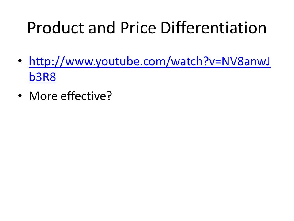 Product and Price Differentiation
