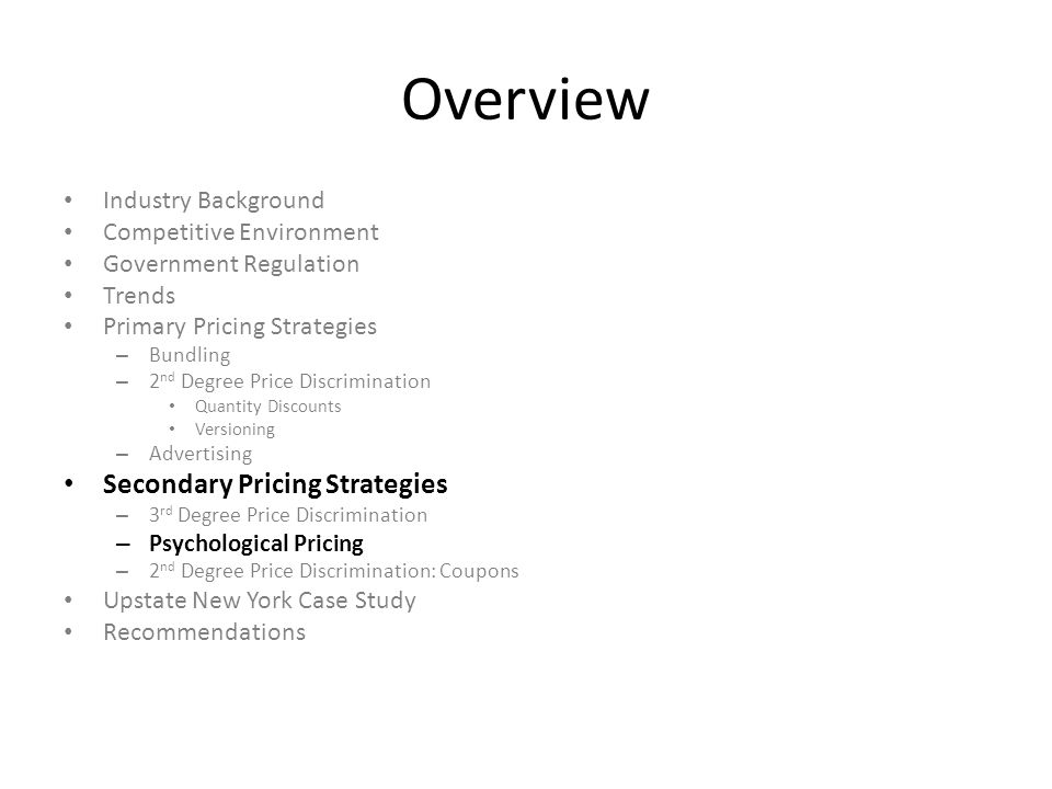 Overview Secondary Pricing Strategies Industry Background