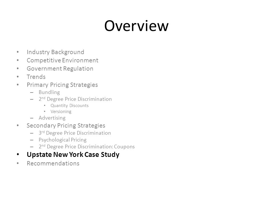 Overview Upstate New York Case Study Industry Background
