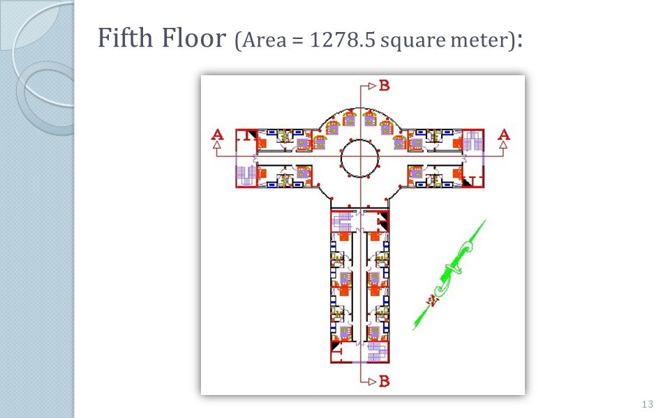Fifth Floor (Area = 1278.5 square meter):