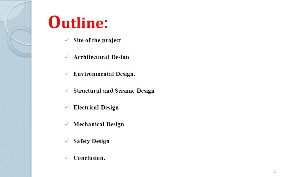 Outline: Site of the project Architectural Design