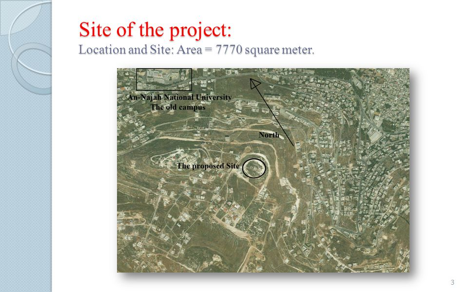 Site of the project: Location and Site: Area = 7770 square meter.