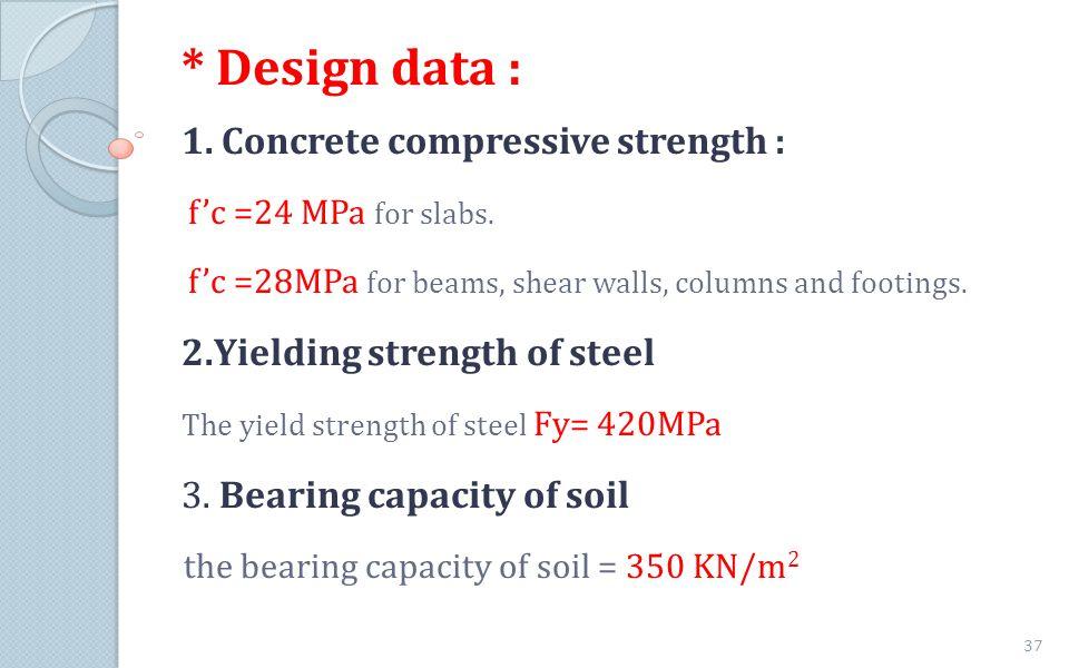 * Design data : 1. Concrete compressive strength :