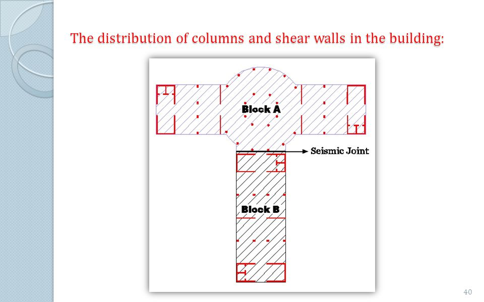 The distribution of columns and shear walls in the building: