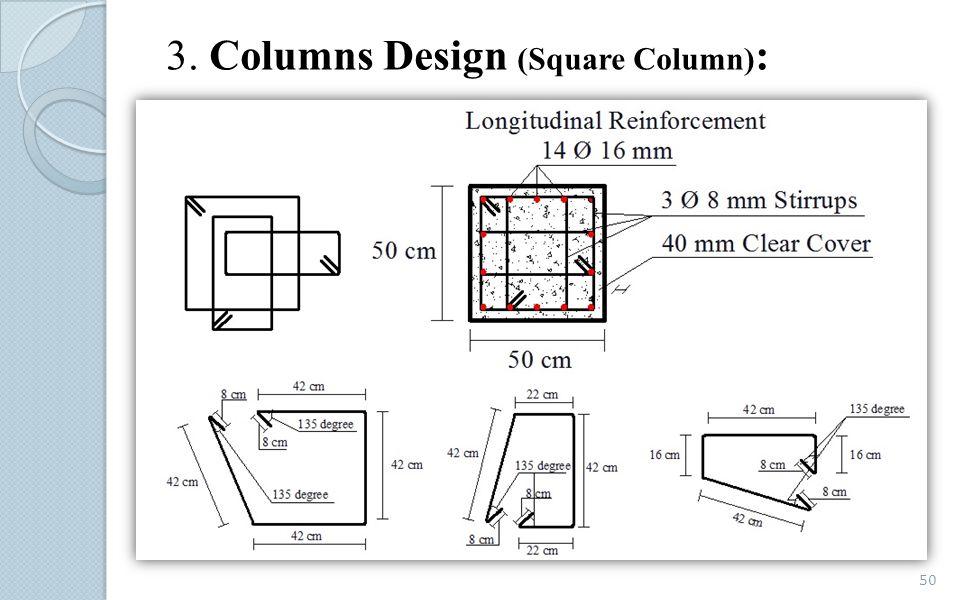 3. Columns Design (Square Column):