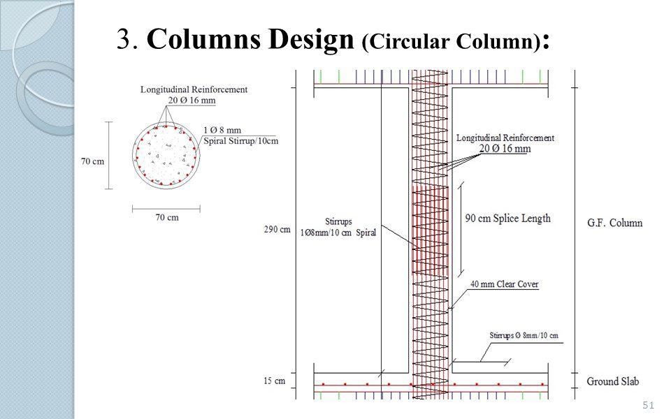 3. Columns Design (Circular Column):