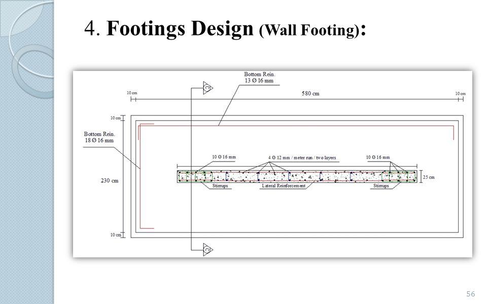 4. Footings Design (Wall Footing):