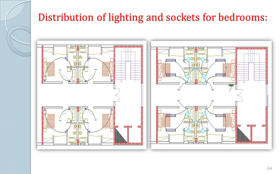 Distribution of lighting and sockets for bedrooms:
