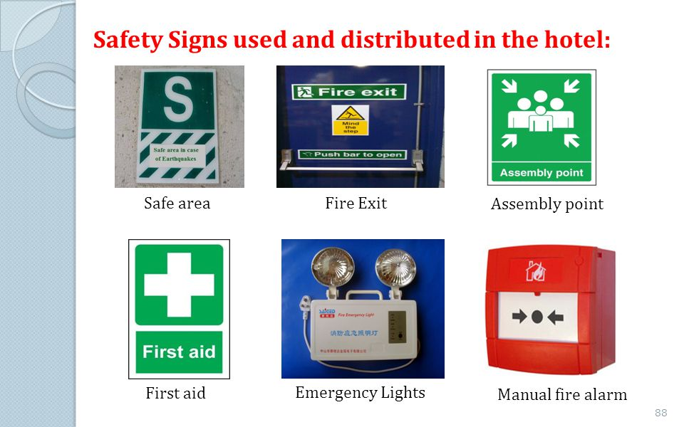 Safety Signs used and distributed in the hotel: