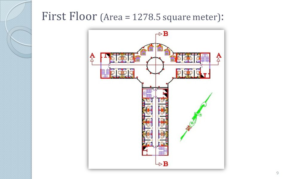 First Floor (Area = 1278.5 square meter):
