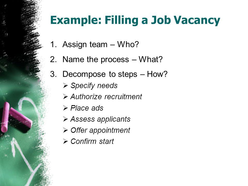 Example: Filling a Job Vacancy
