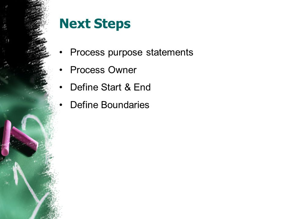 Next Steps Process purpose statements Process Owner Define Start & End