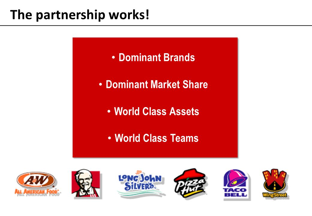 The partnership works! Dominant Brands Dominant Market Share