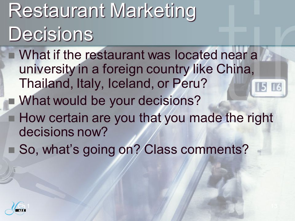 Restaurant Marketing Decisions