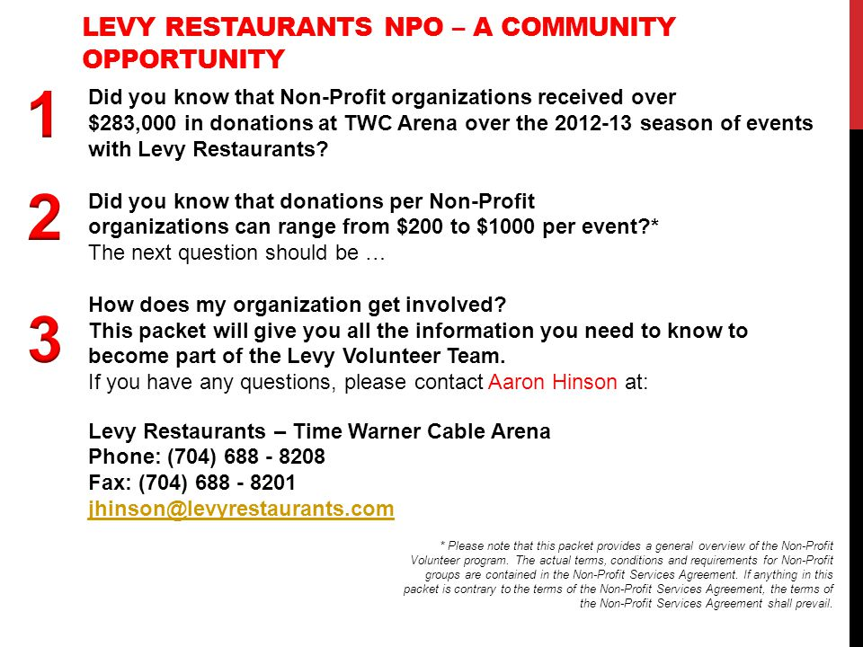 Levy Restaurants Npo – A community Opportunity