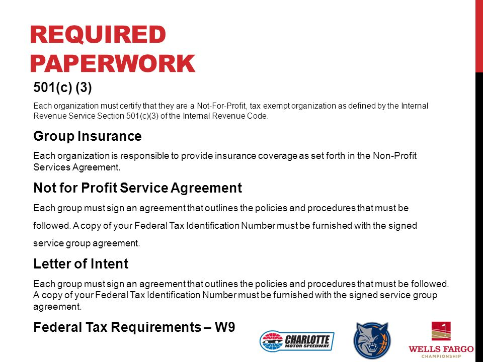 Required Paperwork 501(c) (3) Group Insurance