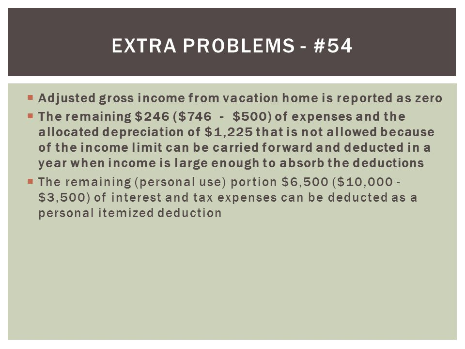 Extra problems - #54 Adjusted gross income from vacation home is reported as zero.