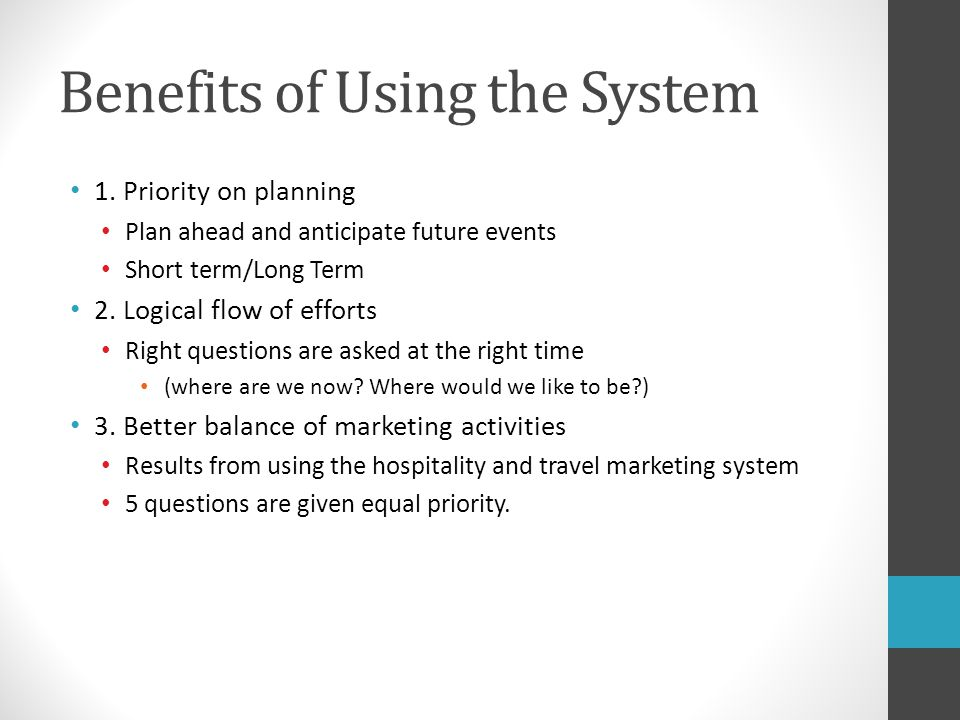 Benefits of Using the System
