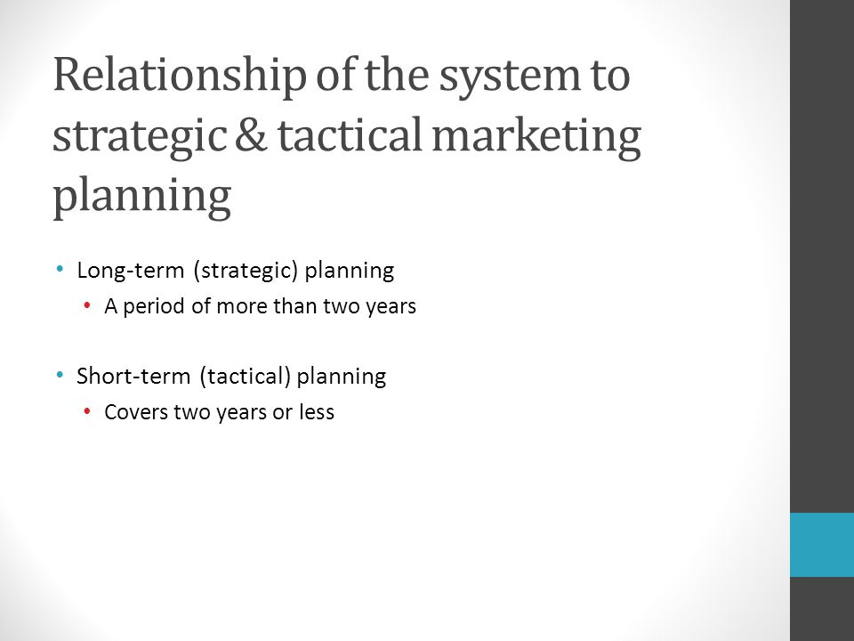 Relationship of the system to strategic & tactical marketing planning
