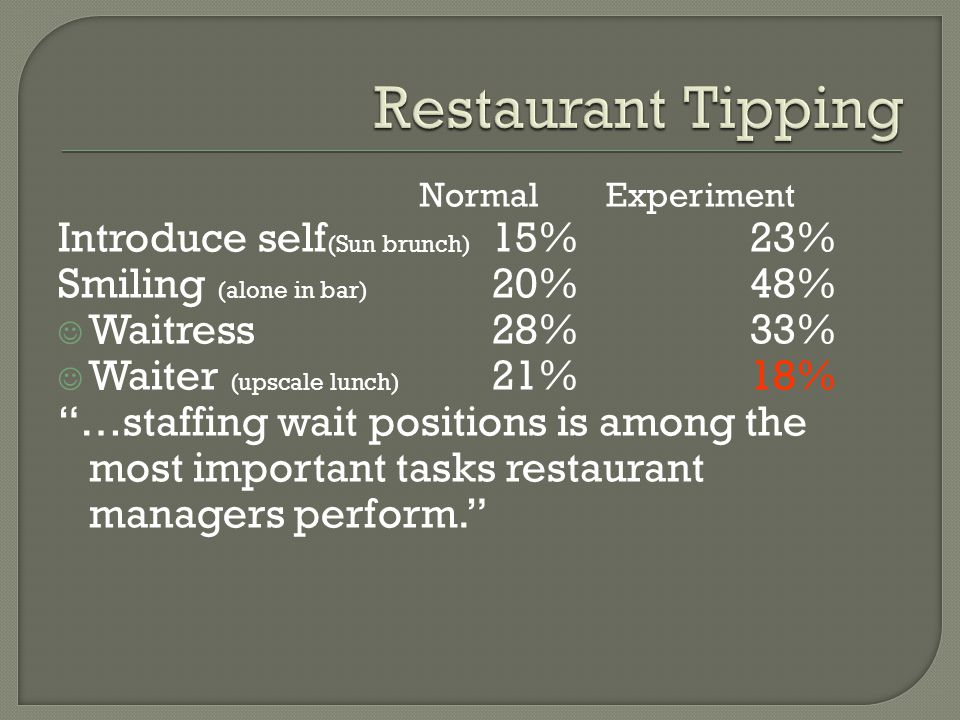 Restaurant Tipping Introduce self(Sun brunch) 15% 23%