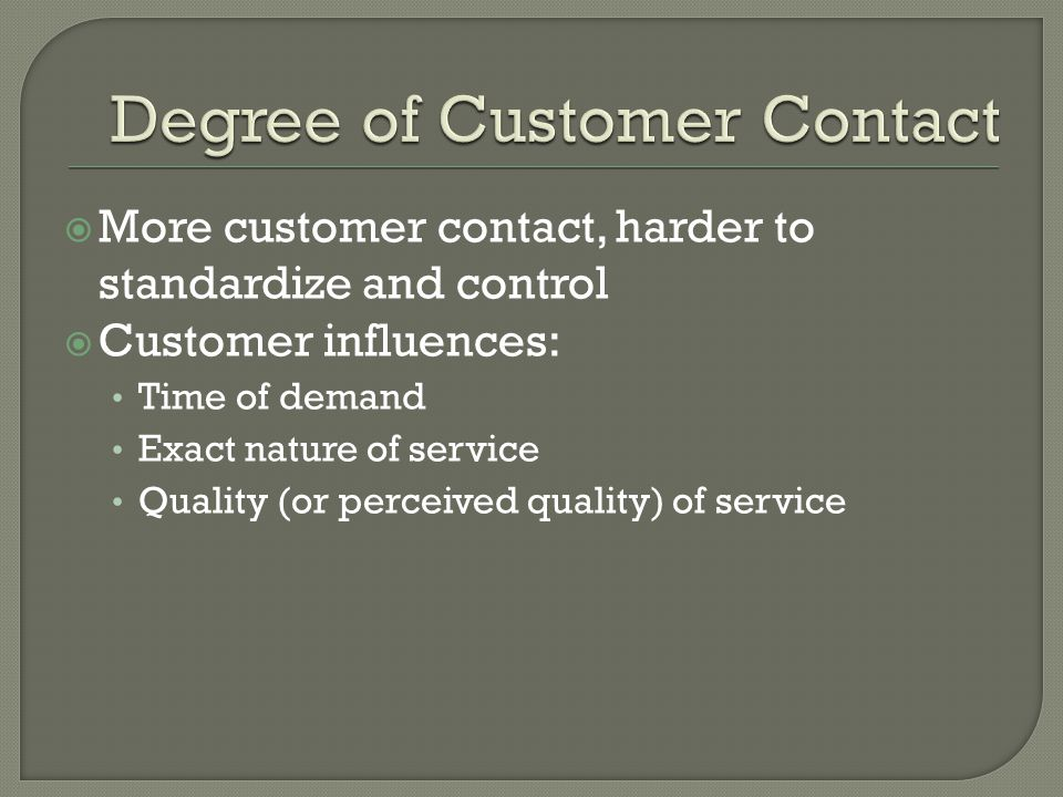 Degree of Customer Contact