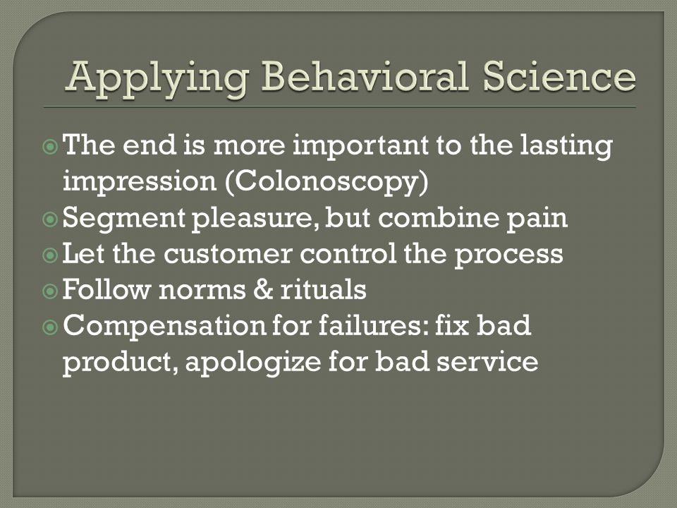 Applying Behavioral Science