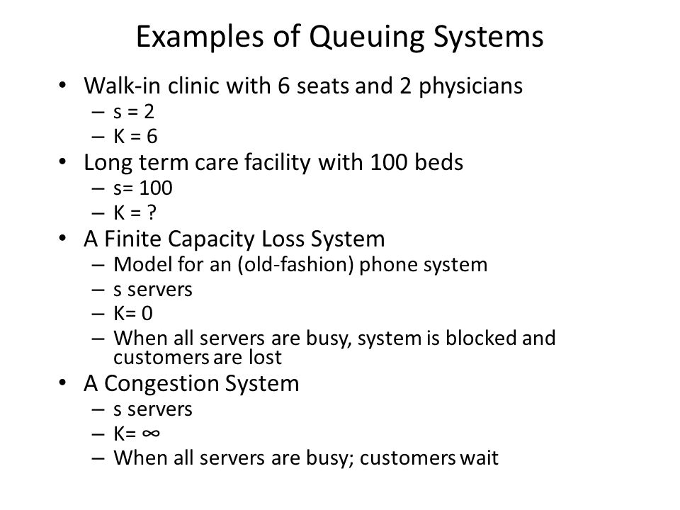 Examples of Queuing Systems