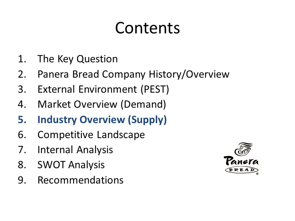 Contents The Key Question Panera Bread Company History/Overview