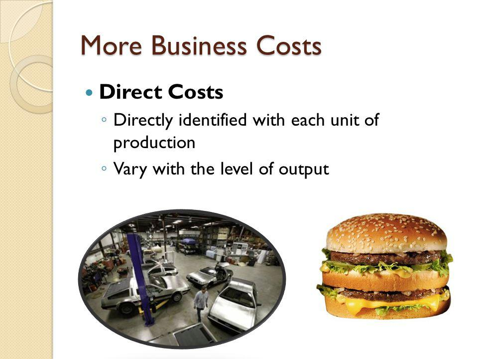 More Business Costs Direct Costs